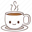 coffee, cup, happy, hot, smile, tea icon
