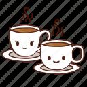 coffee, cups, happy, smile, tea icon