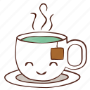 cup, happy, hot, smile, tea icon