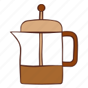 coffee, french, maker, pot, press, tea icon