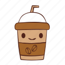 bean, coffee, cup, happy, paper, smile icon
