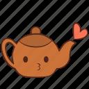 happy, heart, love, smile, teapot