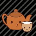 cup, happy, smile, tea, teapot icon