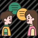 conversation, talk, discuss, communication, friend