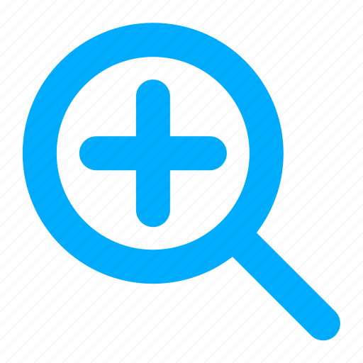 add, blue, find, magnifier, plus, search icon