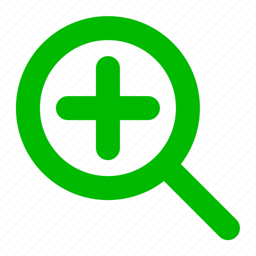add, find, green, magnifier, plus, search icon