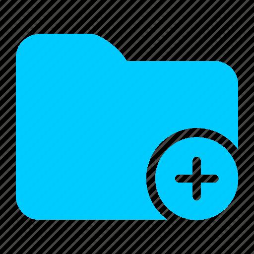 add, album, blue, files, folder, plus icon