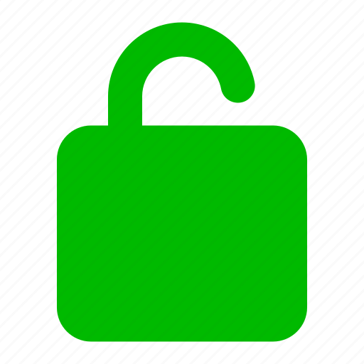 green, lock, protect, safe, security, unlock icon