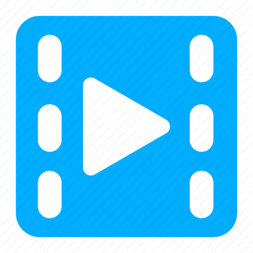 blue film movie play video icon