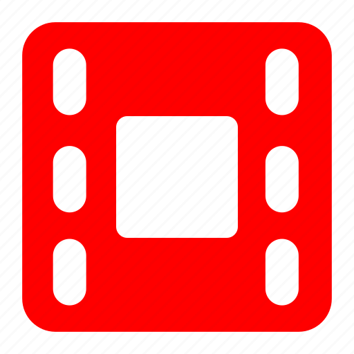 film, movie, play, red, video icon