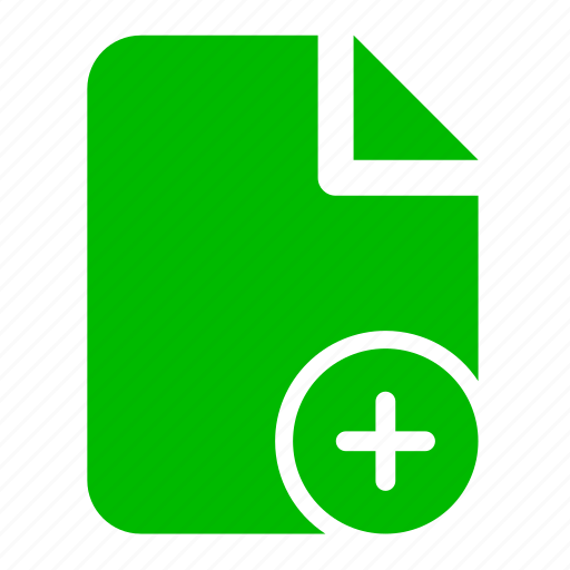 doc, document, file, green, plus icon
