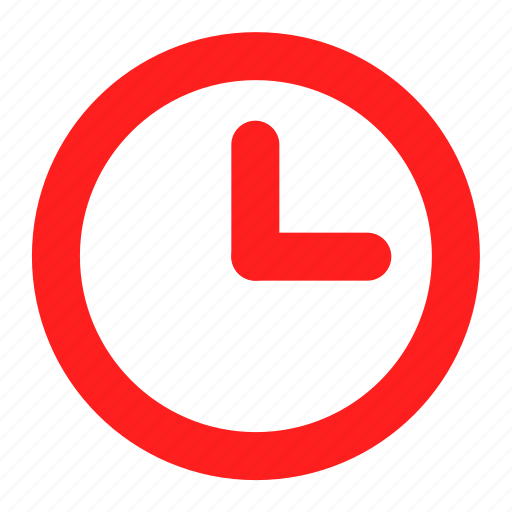 clock, hour, realtime, red, time, timer, watch icon