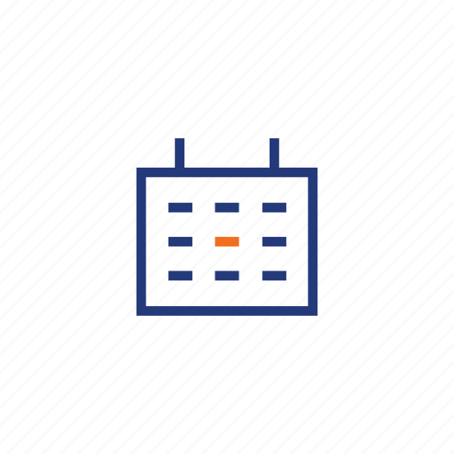 calender, color, day, indigo, list, orange, square icon