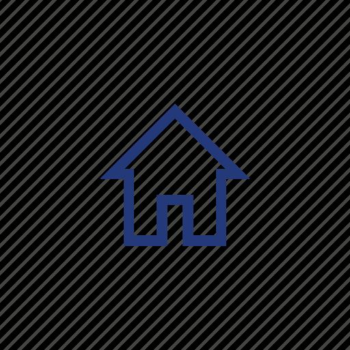 color, home, house, indigo, orange, square icon