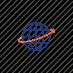arrow, color, earth, global, indigo, internet, orange icon