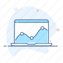 analytics, business, chart, graph, laptop, report, statistics icon
