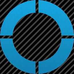 circle, diagram, parts, pie, quarters, ring icon