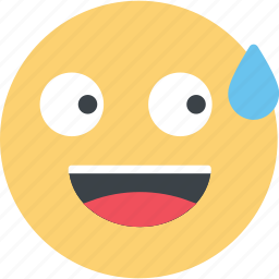 embarrassed, emoji, emoticon, emotion, expression, face, sweat icon