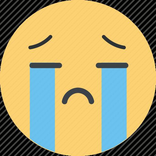 cry, emoji, emoticon, emotion, sad, tears icon