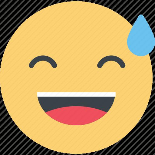 emoji, emoticon, smile, sweat icon
