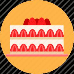 birthday, cake, christmas, dessert, gateau, party, strawberry icon
