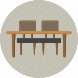 chair, desk, dining, furniture, kitchen, meal, table icon