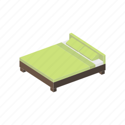 bed, double, furniture, interior, isometric icon