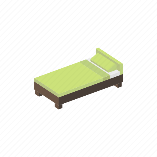 bed, furniture, interior, isometric, signle icon