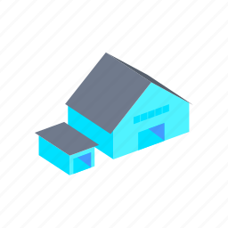 and, building, depot, hangar, isometric icon