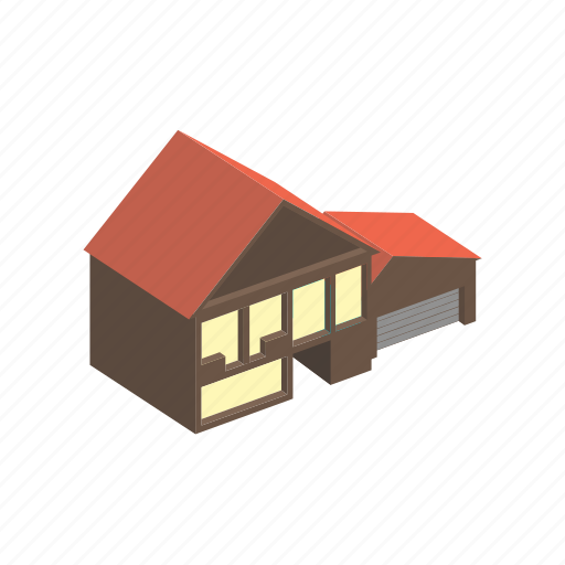 building, floors, garage, house, isometric, with icon