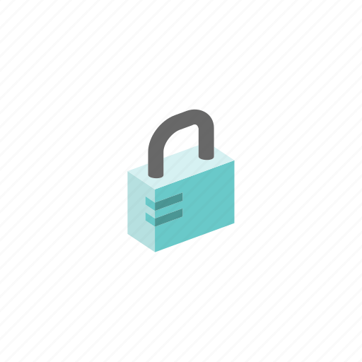 isometric, lock icon