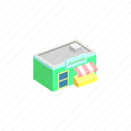 building, isometric, market, trade icon