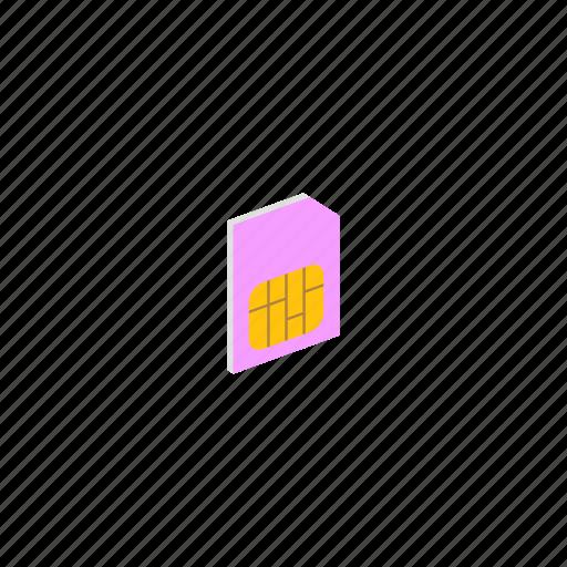 card, gsm, isometric, sim icon