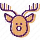 animal, christmas santa, present, reindeer, sled, xmas icon