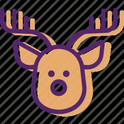 animal, christmas santa, present, reindeer, sled, xmas icon