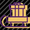 christmas, gift, present, santa, santa claus, sled, xmas icon