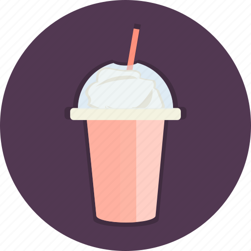 cup, flavours, food, milk, shake, shaked, straw icon