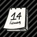 calendar, date, schedule, valentine icon