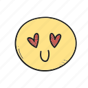 emoji, emoticon, heart, valentine icon