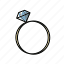 diamond, jewelry, ring, valentine, wedding icon
