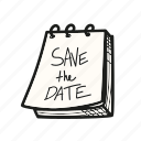 calendar, date, event, save, the, wedding icon