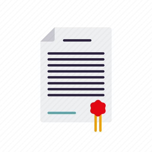 agreement, business, certificate, contract, document, office, seal icon