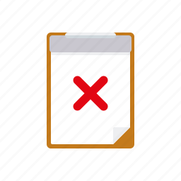 business, checklist, clipboard, failure, office, test icon