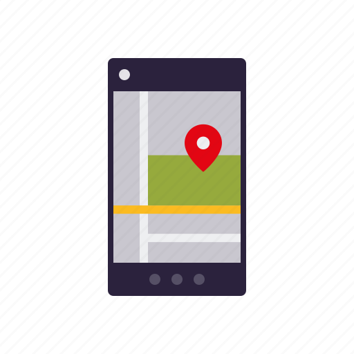 app, business, directions, navigation, office, smart phone, travel icon