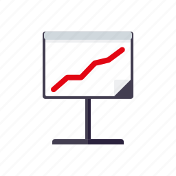 business, flip chart, graph, increase, office, presentation icon