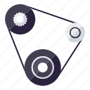automotive, car, fan belt, parts, repair, service, transport icon