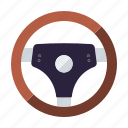 automotive, car, parts, repair, service, steering wheel, transport icon