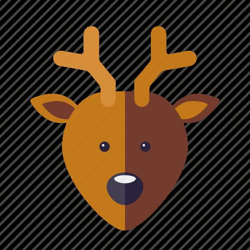 christmas, deer, holidays, reindeer, season, stag, winter icon