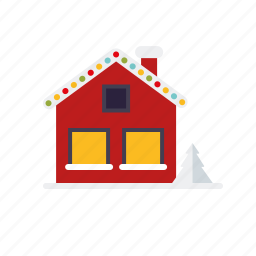 christmas, holidays, house, illuminated, season, snow, winter icon