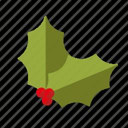 christmas, decoration, holidays, holly, leaves, season, winter icon